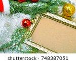 christmas background. frame ... | Shutterstock . vector #748387051