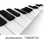 3D Illustration of a Piano Keys - stock photo