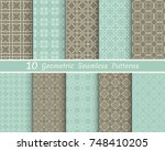 set of seamless line patterns.... | Shutterstock .eps vector #748410205