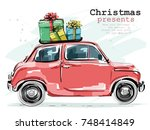 stylish retro car with... | Shutterstock .eps vector #748414849