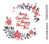 christmas floral decoration... | Shutterstock .eps vector #748426591