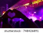hand make heart symbol of love... | Shutterstock . vector #748426891