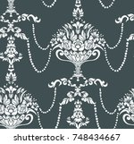 beads flowers vase damask... | Shutterstock .eps vector #748434667