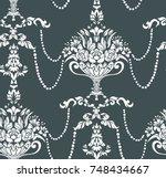 beads flowers vase damask...   Shutterstock .eps vector #748434667