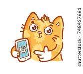 cute ginger cat pointing finger ... | Shutterstock .eps vector #748437661