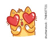 cute ginger cat  adorable ... | Shutterstock .eps vector #748437721