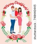 pregnant couple christmas card | Shutterstock .eps vector #748440445