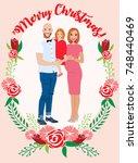 pregnant couple christmas card | Shutterstock .eps vector #748440469