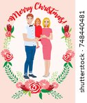 pregnant couple christmas card | Shutterstock .eps vector #748440481