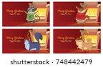 vector set of christmas cards... | Shutterstock .eps vector #748442479