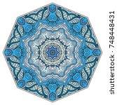 mandala flower decoration  hand ... | Shutterstock .eps vector #748448431