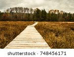 long lake hiking trail wisconsin | Shutterstock . vector #748456171
