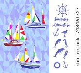 sea background with ships.hand... | Shutterstock . vector #748461727