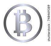 platinum bitcoin icon. vector. | Shutterstock .eps vector #748469389
