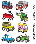 cute vehicle  transportation... | Shutterstock .eps vector #748470229