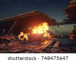 burning car in the apocalyptic... | Shutterstock . vector #748475647