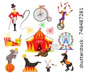 a set of images on a circus... | Shutterstock .eps vector #748487281