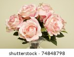 bouquet of pink roses in a... | Shutterstock . vector #74848798