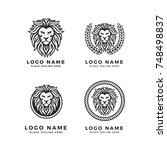 king lion head logo template ... | Shutterstock .eps vector #748498837
