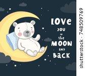 good night print with cute bear ... | Shutterstock .eps vector #748509769