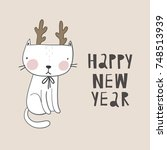 christmas print with cute cat | Shutterstock .eps vector #748513939