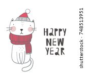 christmas print with cute cat | Shutterstock .eps vector #748513951