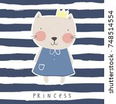 cute princess cat vector print | Shutterstock .eps vector #748514554