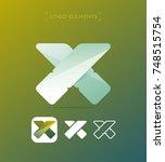 vector abstract x letter... | Shutterstock .eps vector #748515754