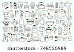 kitchen objects doodle set | Shutterstock .eps vector #748520989