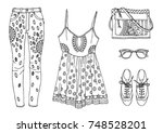 hand drawn clothes set. fashion ... | Shutterstock .eps vector #748528201