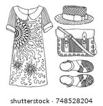 hand drawn clothes set. fashion ... | Shutterstock .eps vector #748528204