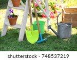 gardening tools on green lawn | Shutterstock . vector #748537219