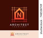 architect initial letter n logo ... | Shutterstock .eps vector #748538749