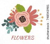 illustration of flower on white ...   Shutterstock . vector #748543981