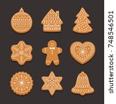 set christmas gingerbread ... | Shutterstock .eps vector #748546501