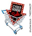 a cyber monday sale sign in a... | Shutterstock .eps vector #748556629