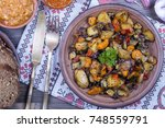 stewed vegetables with tomato ... | Shutterstock . vector #748559791