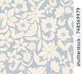 seamless floral pattern in folk ... | Shutterstock .eps vector #748569979