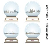 vector snow globes with london  ... | Shutterstock .eps vector #748573225