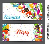 carnival party banners with... | Shutterstock .eps vector #748578259