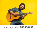smiling bearded musician man...