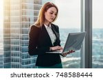 young female lawyer working in...   Shutterstock . vector #748588444
