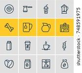 vector illustration of 16 drink ... | Shutterstock .eps vector #748591975