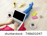 young beauty blogger using... | Shutterstock . vector #748601047