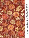 watercolor texture floral... | Shutterstock . vector #748602295
