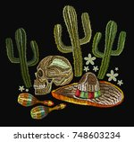 embroidery mexican culture.... | Shutterstock .eps vector #748603234