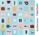 mixed objects  items and tools...   Shutterstock . vector #748605409