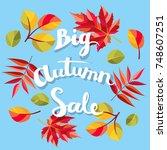 big  autumn sale background.... | Shutterstock .eps vector #748607251