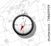 compass on a world map. can be... | Shutterstock .eps vector #748609939