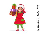 happy girl in christmas hat... | Shutterstock .eps vector #748610761